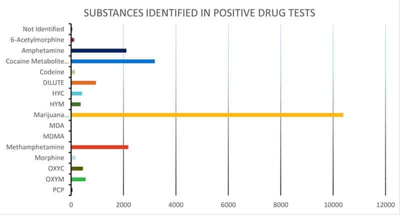 Positive drug test results by item, U.S. DOT, FMCSA Drug & Alcohol Clearinghouse